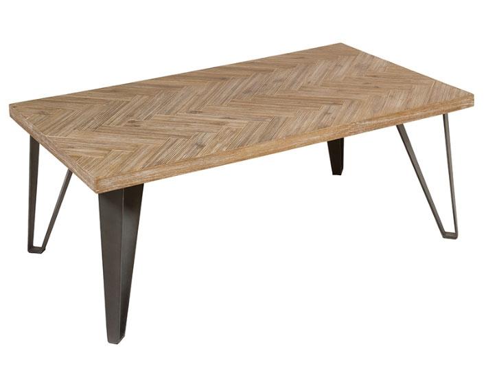 Mesa de Centro Parquet 2 - Mesa de Centro Parquet 2, madera de acacia, patas de hierro