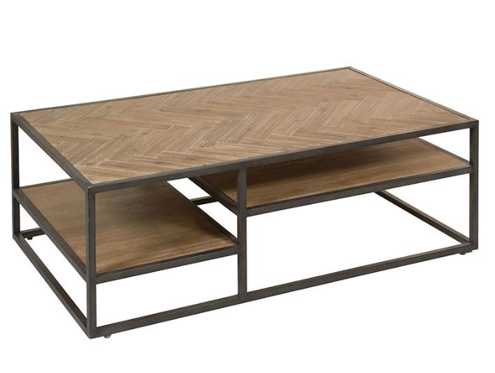 Mesa de Centro Parquet  - Mesa de Centro Parquet, madera de acacia, patas de hierro