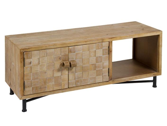 Mueble tv Carré - Mueble tv Carré,  laminado abeto, mdf + hierro + polipiel