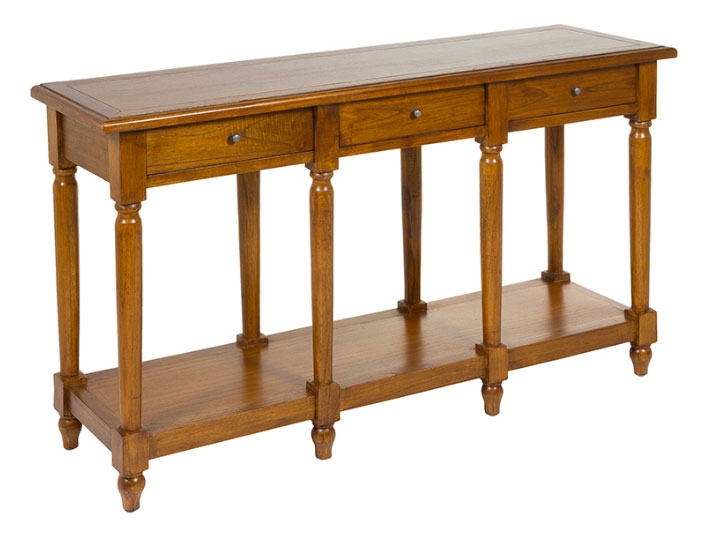 Consola bubut - Consola bubut, madera de mindi, playwood, estilo colonial