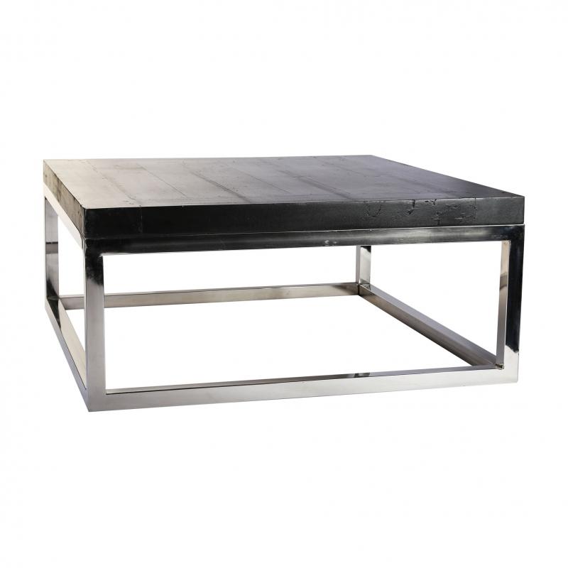 Mesa de centro de acero inoxidable y teca - Mesa de centro de acero inoxidable y teca