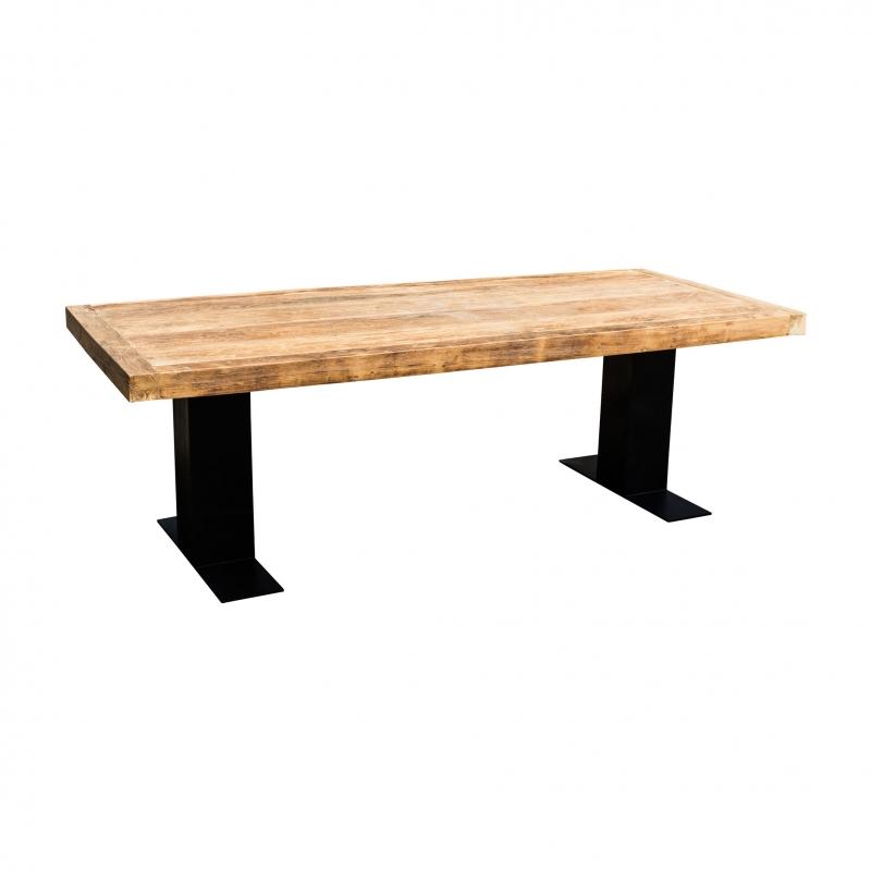Mesa de comedor natural de hierro y teca - mesa de comedor natural de hierro y teca