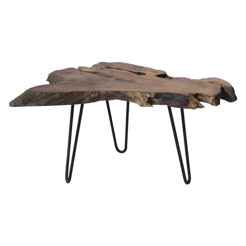 Mesa de madera natural Juar - Mesa de madera natural Juar sobre patas de hierro delgadas