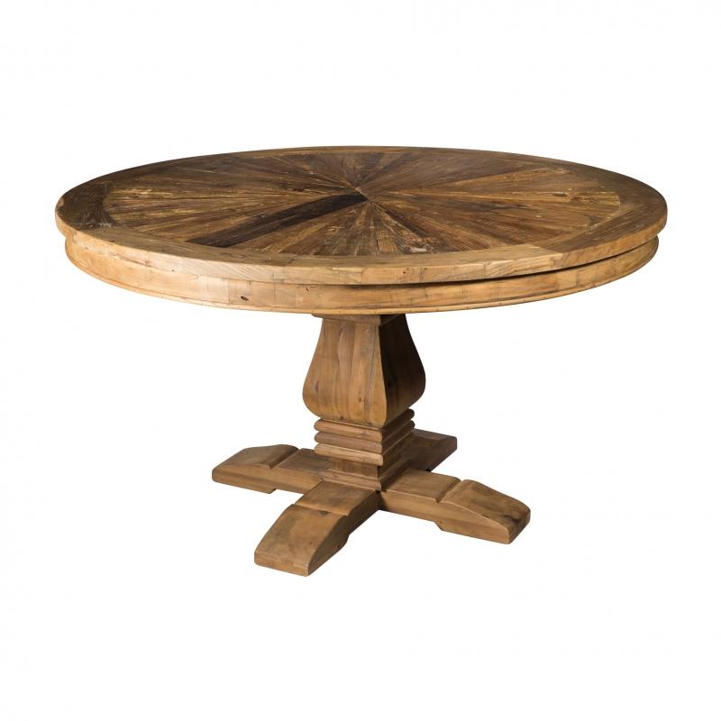 Mesa de comedor redonda de madera de olmo  - Mesa de comedor redonda de madera de olmo