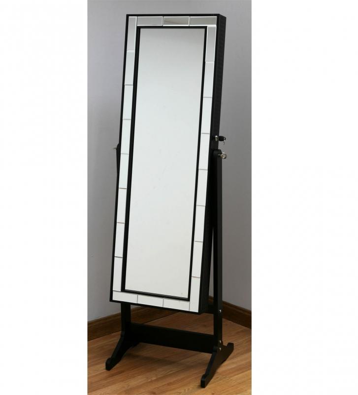 Mueble joyero con espejo - Mueble joyero negro con espejo