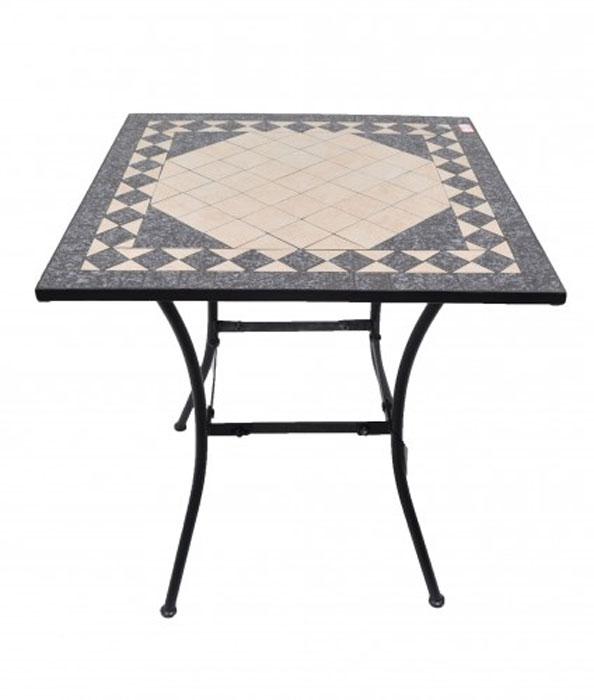 MESA PAROS 70 - Mesa para uso interior y exterior de aluminio. Sobre en mosaico.