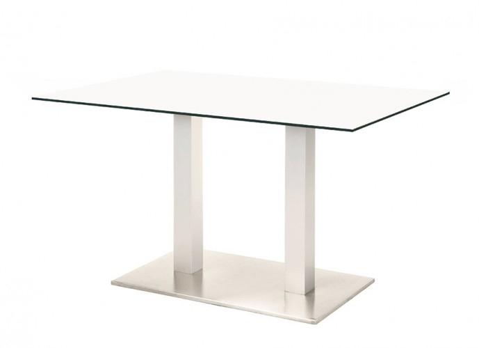 Mesa Renoir doble - Mesa Renoir doble, pie central doble de acero inoxidable