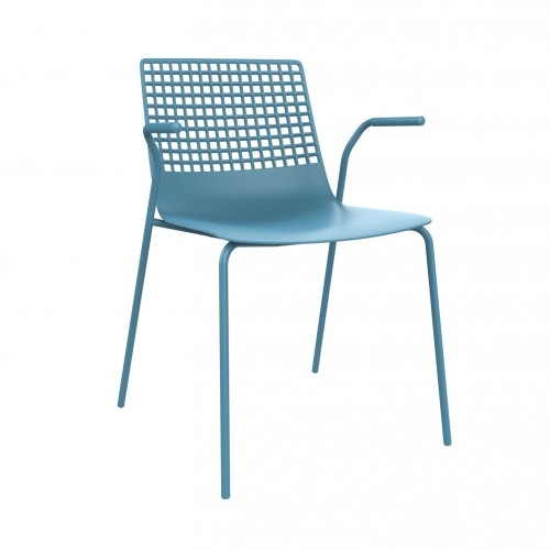 SILLA CON BRAZOS WIRE - Silla con brazos para uso interior. Carcasa inyectada en fibra de vidrio y PP. Estructura de acero pintado. Apilable.