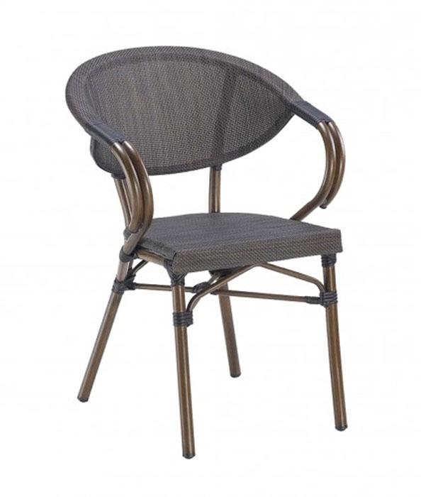 SILLA CON BRAZOS AUREA - Silla apilable de aluminio pintado efecto bamboo. Asiento y respaldo de textilene. Para uso interior y exterior.