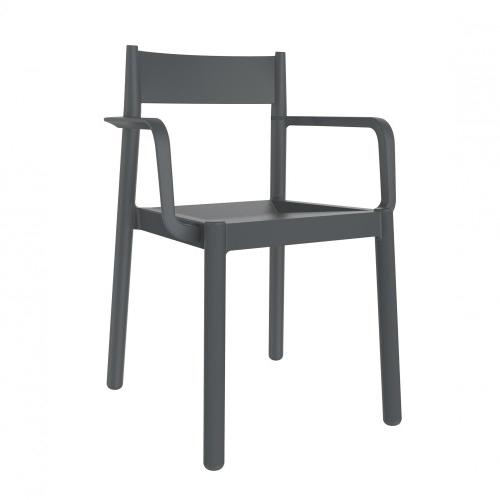 SILLA CON BRAZOS DANNA - Silla con brazos para uso interior y exterior. Inyectada en PP. Apilable. Protección UV. Peso neto silla 3,6 kg.