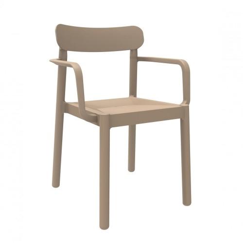 SILLA CON BRAZOS ELBA - Silla con brazos para uso interior y exterior. Inyectada en PP. Apilable. Protección UV. Peso neto silla 3,6 kg.