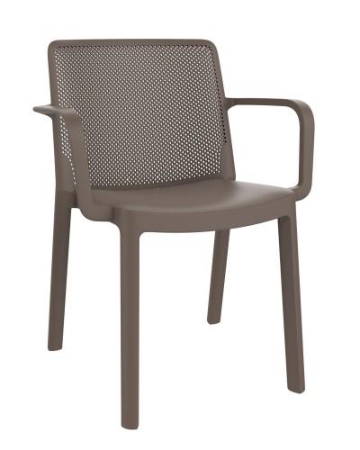 SILLA CON BRAZOS FRESH - Silla con brazos para uso interior y exterior. Inyectada en PP. Apilable. Protección UV. Peso neto silla 3.11 kg.