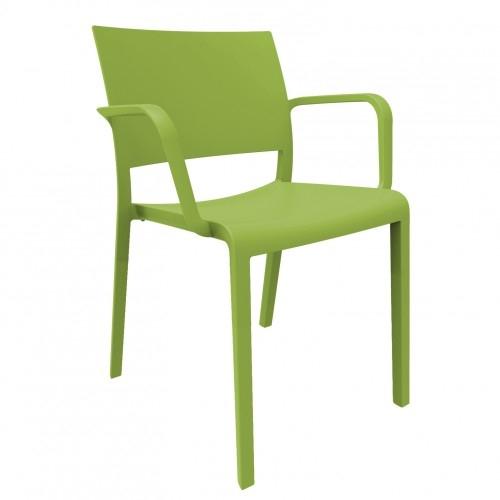 SILLA CON BRAZOS NEW FIONA - Silla con brazos para uso interior y exterior. Inyectada con fibra de vidrio y PP. Apilable