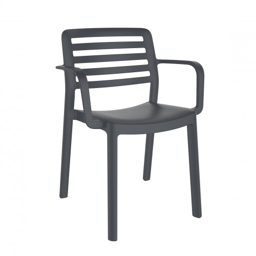 SILLA CON BRAZOS WIND - Silla con brazos para uso interior y exterior. Inyectada en PP. Apilable. Protección UV. Peso neto silla 3,3 kg.