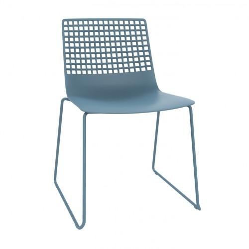 SILLA PATIN WIRE - Silla patín para uso interior. Carcasa inyectada en fibra de vidrio y PP. Estructura de acero pintado. Apilable.