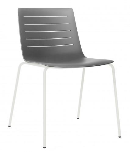 SILLA SKIN - Silla cuatro patas para uso interior. Carcasa inyectada en fibra de vidrio y PP. Estructura de acero pintado blanco o negro. Apilable. Opcional: mesa auxiliar de compacto fenólico.