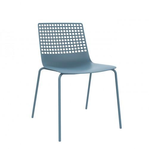 SILLA WIRE - Silla para uso interior. Carcasa inyectada en fibra de vidrio y PP. Estructura de acero pintado. Apilable.