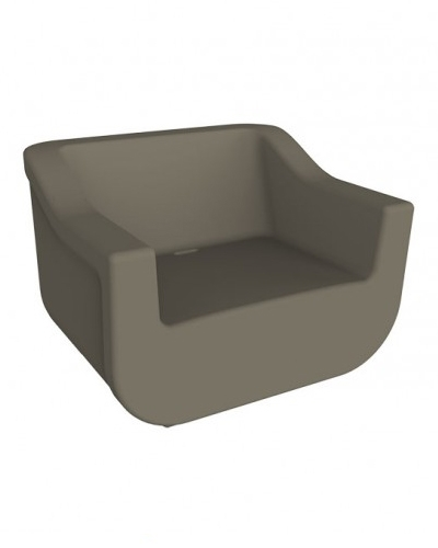SILLÓN CLUB - Sillón de polietileno rotomoldeado para uso interior y exterior. Sistema de evacuación de agua. Protección contra rayos UV. Opcional: Cojín de algodón y poliéster de 5 cm de grosor en color beige para exterior.