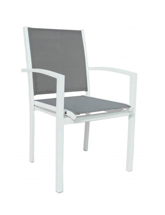 SILLON TONIC - Sillón apilable para exterior. Estructura de aluminio pintado por pulverización en color blanco. Asiento y respaldo de textilene color gris. Peso neto 3,3 kg.