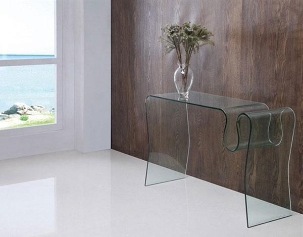 Consola Concerto - Consola Concerto, cristal curvado, 120x40 cms