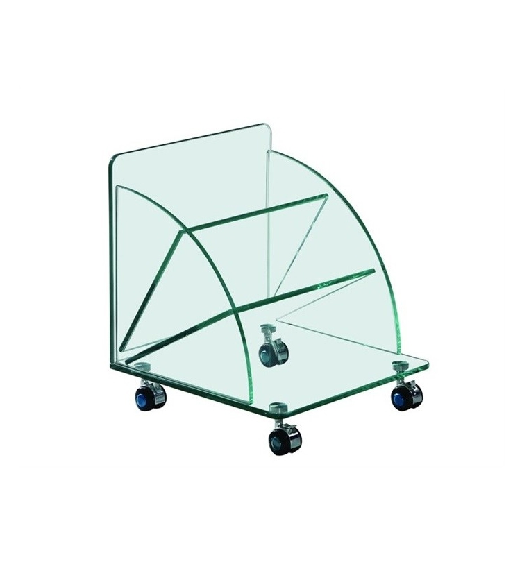 Mesa COIMBRA - Mesa COIMBRA-TR, baja, ruedas, cristal, 38x38x43 cms