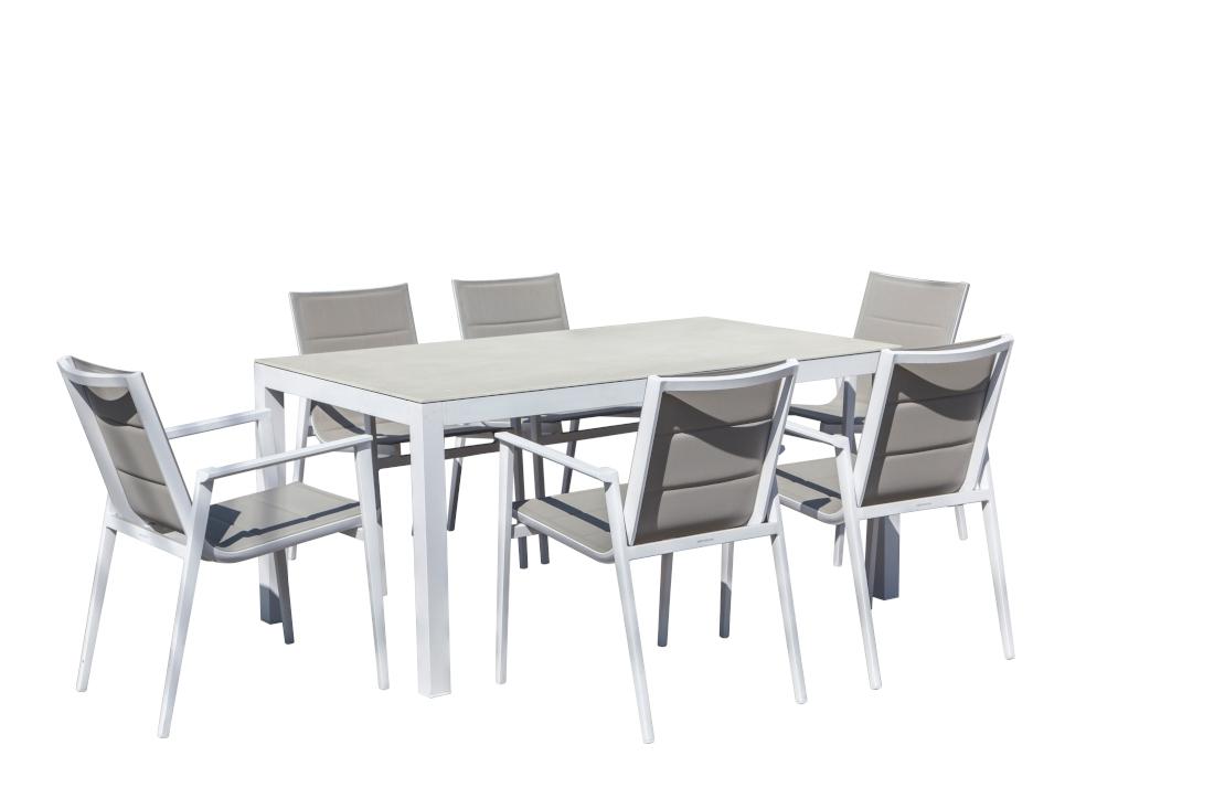 Mesa de exterior de aluminio con tope de piedra - Set de exterior mesa y sillones de aluminio con tapa de cristal o piedra
