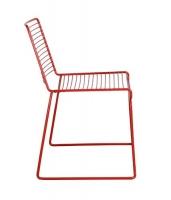 Silla moderna de metal roja  - Silla moderna de metal roja patas de patin