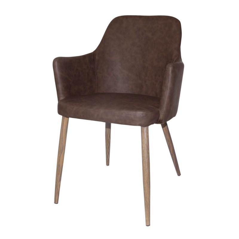 Sillón classic tapizado en tela de PU - Sillón Classic acabado vintage color marrón y antracita