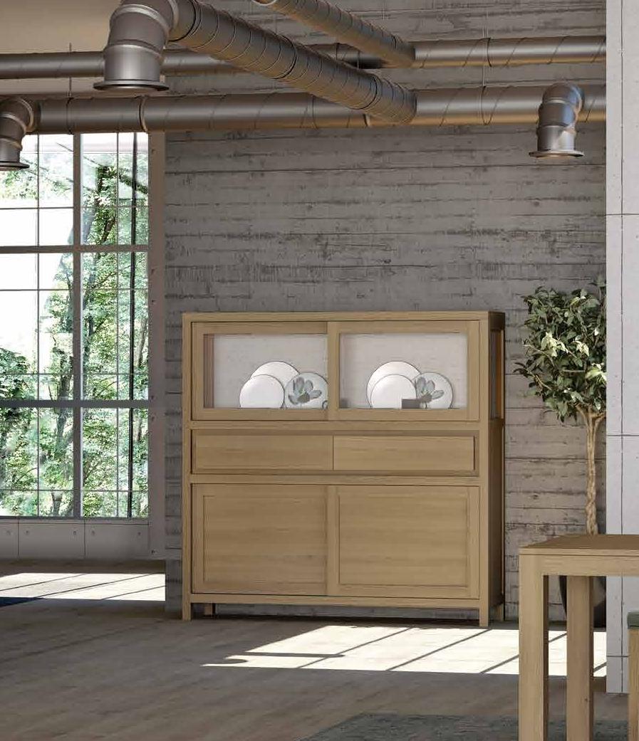 Aparador Alto colección Terra AP03 - Aparador colección Terra AP03, Fabricado en madera con una laca patinada, color Semianticuario 1, lo que potencia su calidez y le da un toque Vintage.