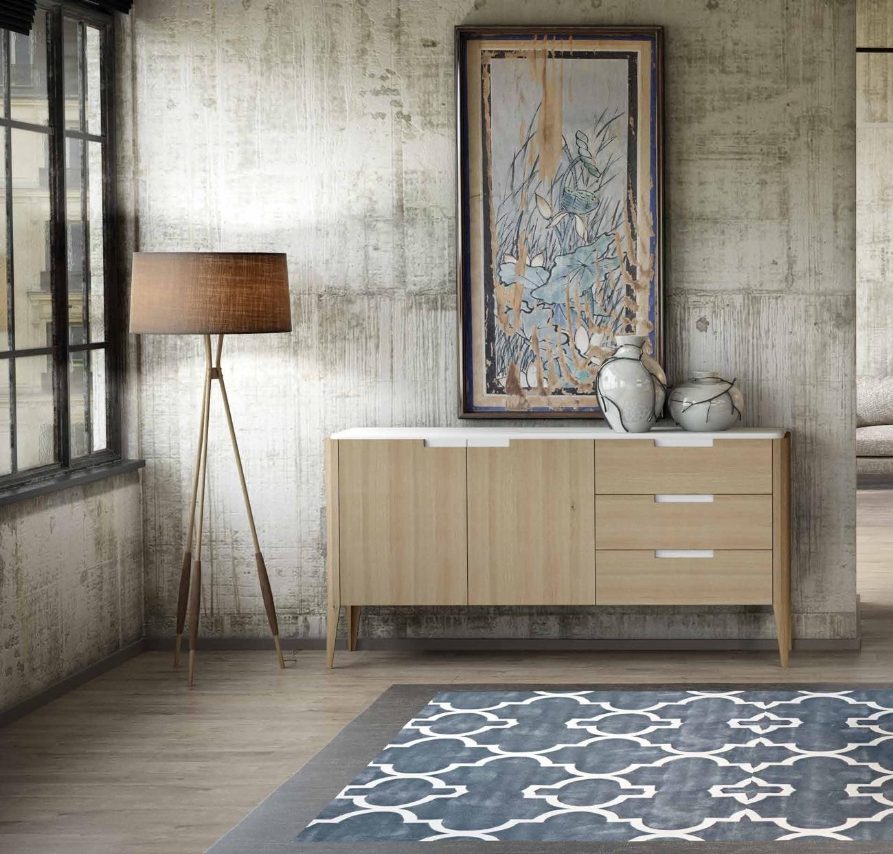 Aparador colección Terra AP09 - Aparador colección Terra AP09, Sutileza de formas y combinación perfecta de acabados que intensifican la elegancia de este comedor, Roble Natural y laca color Blanco.