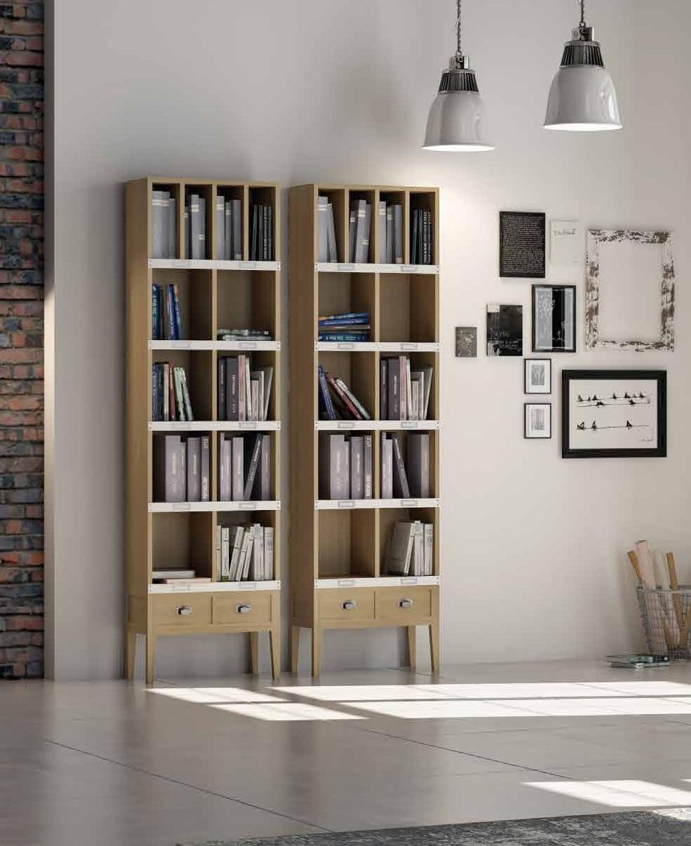 Librería colección Terra LIB01 - Librería colección Terra LIB01, Los colores elegidos para este ambiente, son el Roble Tostado con detalles en laca Blanco Roto.