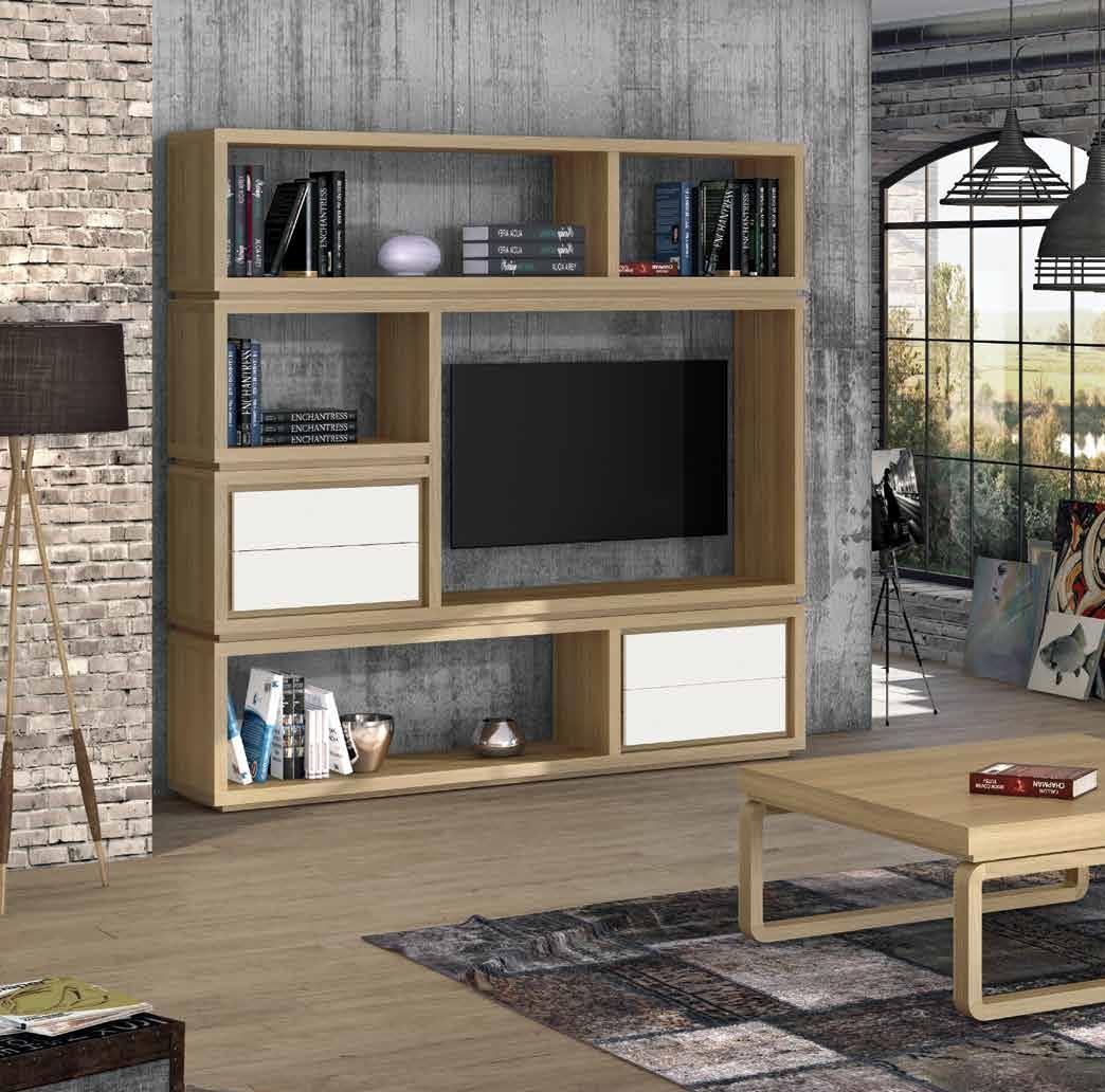 Librería colección Terra LIB03 - Librería colección Terra LIB03, fabricada en módulos apilables, le hemos incorporado un espacio para colocar el televisor, lo que la hace útil y versátil.