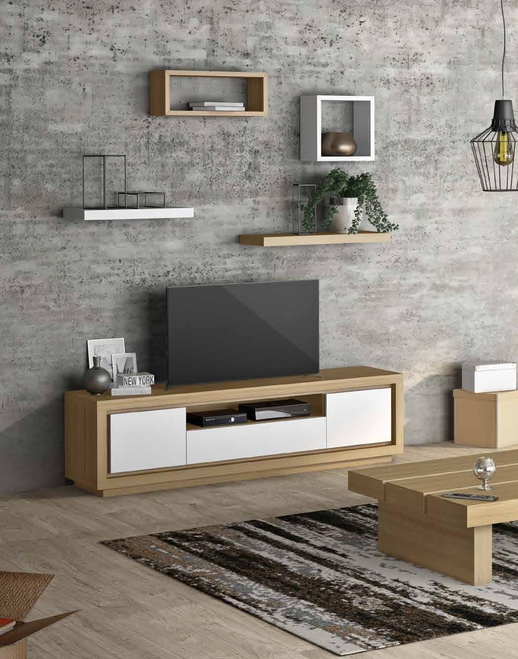 Mesa de TV colección Terra TV03 - Mesa de TV colección Terra TV03, La mezcla de laca y roble aporta serenidad a este mueble. Acabados Roble Tostado con laca Blanco Roto.