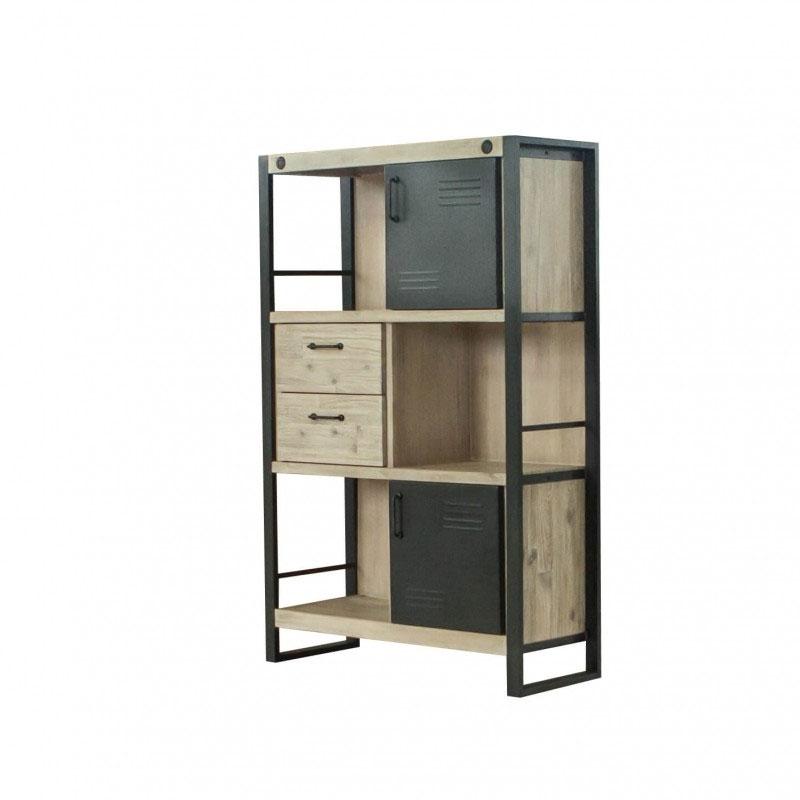 Libero bajo BOSTON - Librero bajo de diseño industrial que combina la madera de acacia con una estructura de metal.