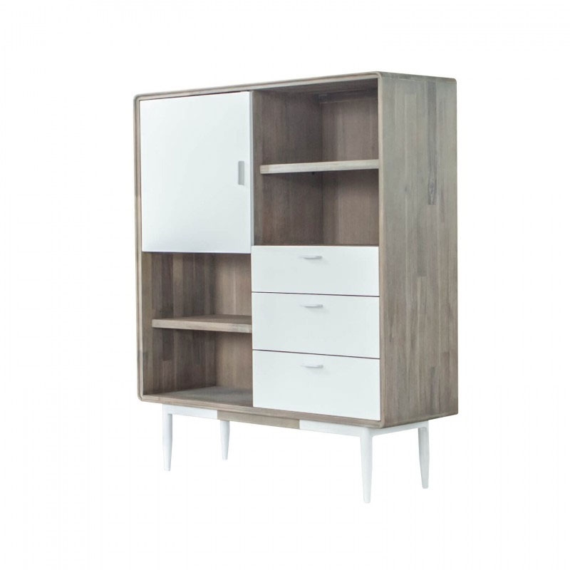 Librero bajo FLORENCE - Librero bajo con diseño actual y gran capacidad fabricado en madera de acacia y frentes en DM lacado blanco