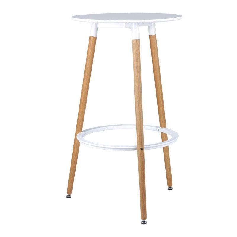 Mesa alta THEA - Original mesa auxiliar con bandejas, fabricada en estructura de metal mate y con dos bandejas en DM lacado blanco.