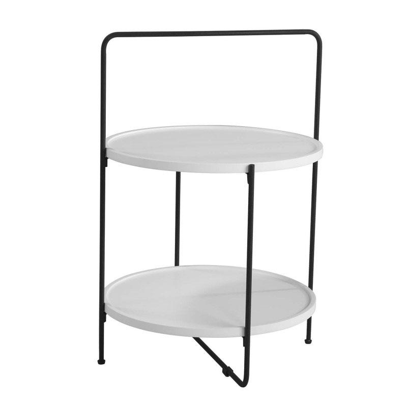 Mesa auxiliar Alessio - Original mesa auxiliar con bandejas, fabricada en estructura de metal mate y con dos bandejas en DM lacado blanco.