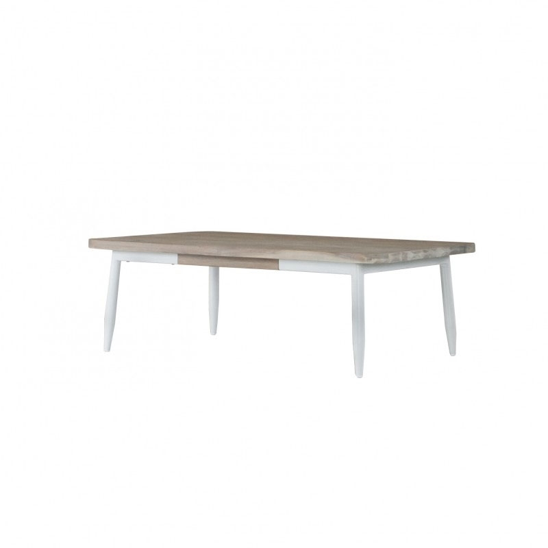 Mesa centro FLORENCE - Mesa de centro fabricada en madera de acacia con tapa 30mm. Con patas y estructura metálica lacado blanco.