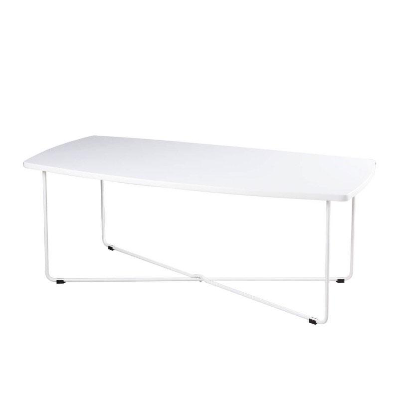 Mesa centro JUSTIN - Mesa de centro rectangular con base de metal y tapa fabricada en DM lacado blanco.