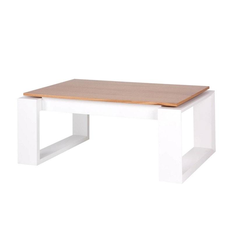 Mesa centro PORTO - Mesa de centro elevable, fabricada en DM lacado blanco y chapa natural de madera de roble en la tapa.