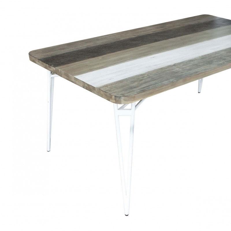 Mesa de Comedor NIZA 180 - Mesa de comedor fija de gran tamaño fabricada en madera maciza de acacia y patas metálicas lacadas en blanco.