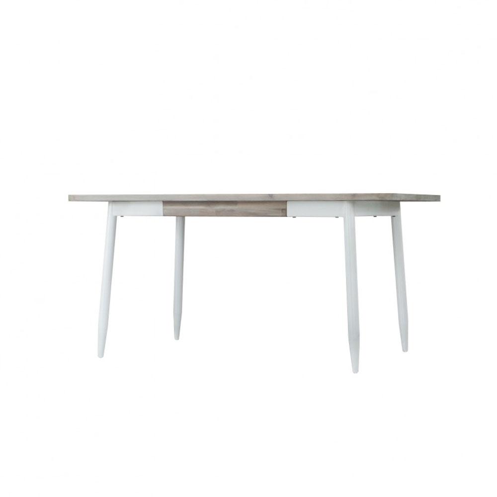 Mesa de Comedor FLORENCE 160 - Mesa comedor fija con tapa madera maciza acacia y patas metálicas lacadas blancas.
