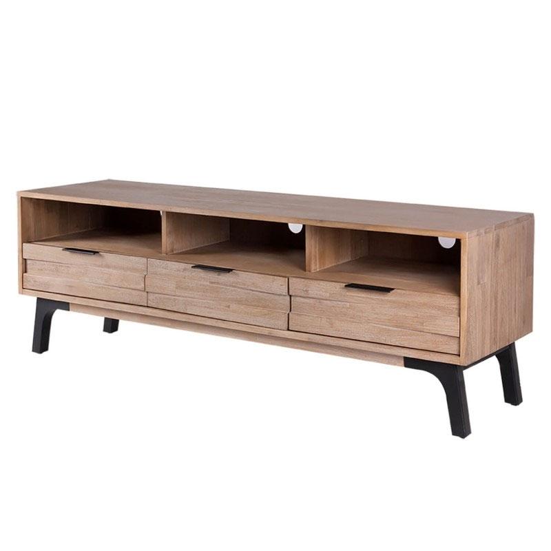 Mueble TV AMSTERDAM - Mueble TV fabricado en madera maciza acacia con patas metálicas mate