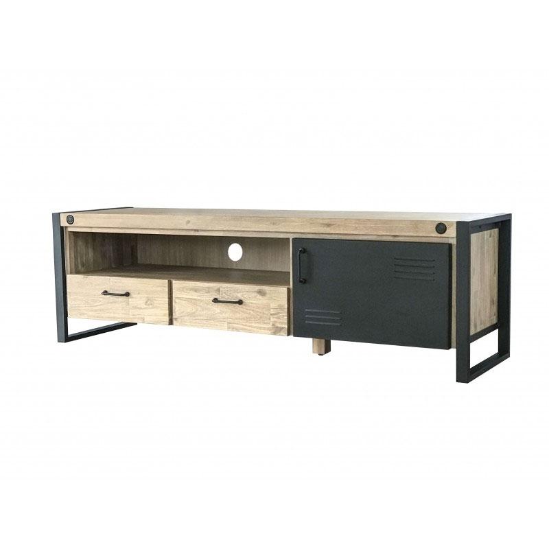 Mueble TV BOSTON - Mueble TV diseño industrial y gran tamaño fabricado en madera de acacia y estructura de metal