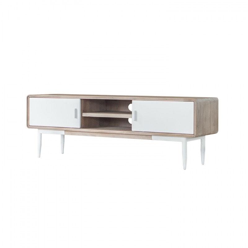 Mueble TV FLORENCE - Mueble TV de gran tamaño y línea moderna fabricado en madera de acacia con los frentes DM lacado blanco