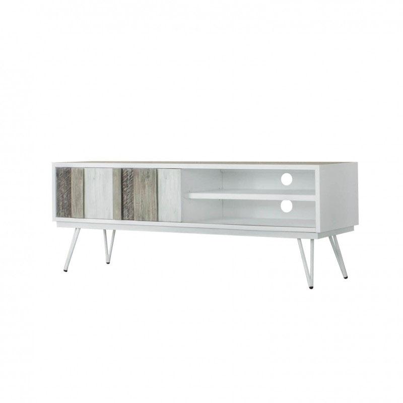 Mueble TV NIZA - Mueble TV de gran capacidad fabricado en DM lacado combinado con madera maciza de acacia.