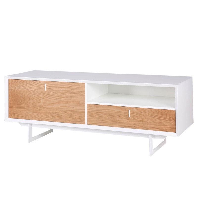 Mueble TV PORTO - Mueble TV de diseño nórdico en color blanco. Fabricado en DM lacado y con los frentes en chapa natural de madera de roble.