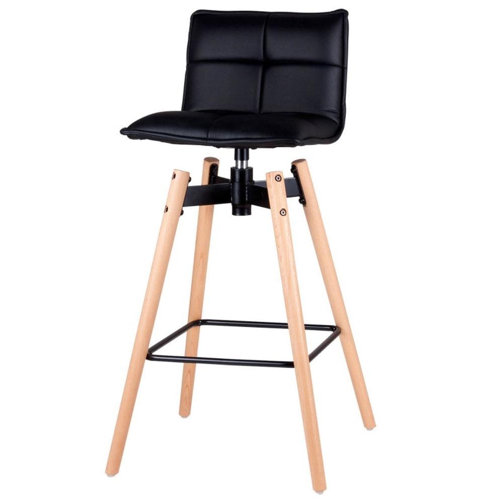 Taburete JANIE - Taburete de pata de madera maciza de haya y reposapiés en metal. La base metálica para el asiento es giratoria. Asiento en PU acolchado muy cómodo.