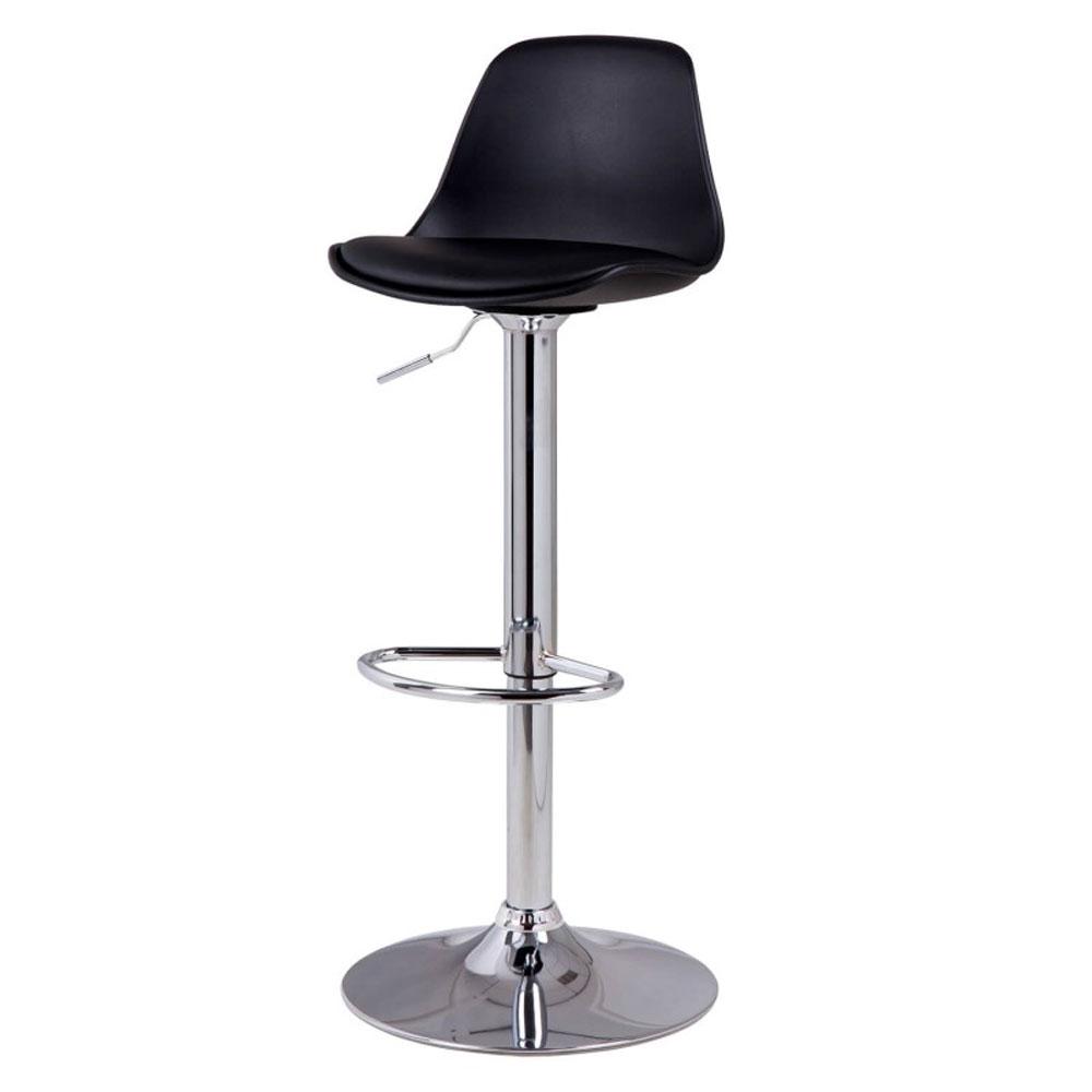 Taburete NELLY - Taburete elevable cromado con soporte pies cromado. Sistema de elevación por pistón. Asiento en plástico polipropileno y con asiento acolchado PU.