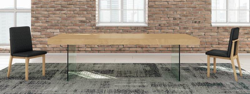Mesa de comedor Rebeca  - Mesa comedor extensible rectangular, patas de metal
